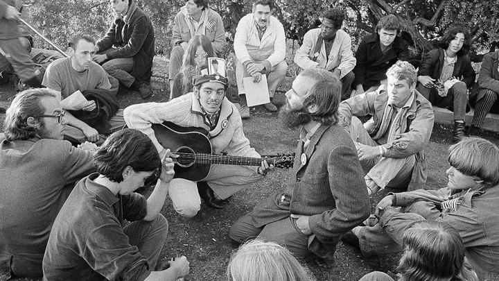 A group gathered at sunrise in San Francisco's Haight-Ashbury district in 1967