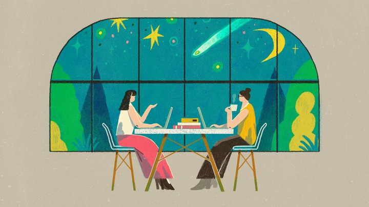 An illustration of two friends talking to each other while working on their laptops.