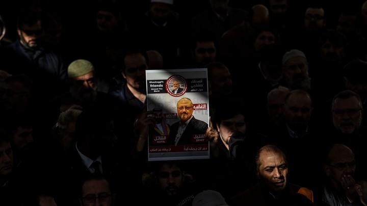 A banner of Jamal Khashoggi.