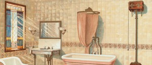illustration of a late-1800s bathroom
