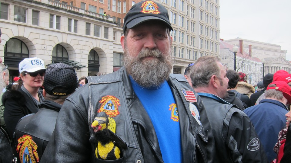 """Beau """"Maddog"""" Maddox and fellow members of the Christian Motorcyclists Association came to Washington, D.C., from Texas to show support for President Donald Trump."""