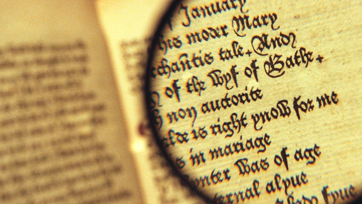 "A magnifying glass hovers over an open copy of ""The Canterbury Tales"""