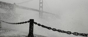 the Golden Gate Bridge in a storm