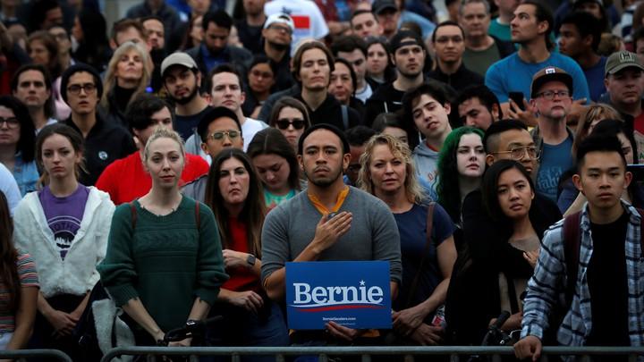Democratic voters at a Bernie Sanders rally.