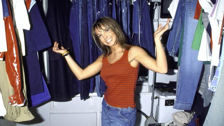 Britney Spears filming a denim ad