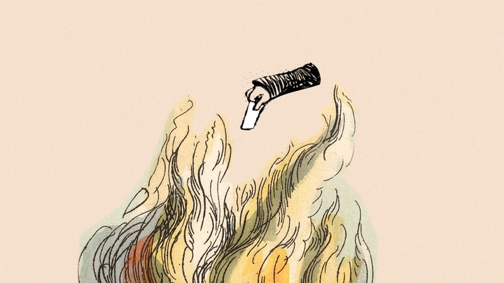 An illustration of a hand dropping a ballot into fire.