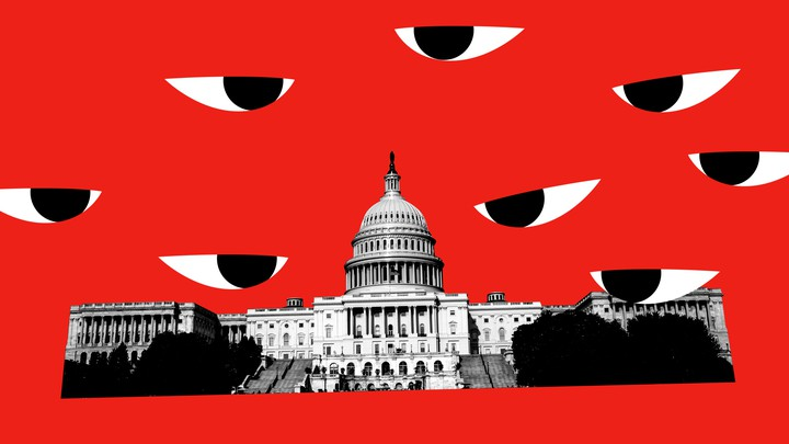 A photo illustration featuring the U.S. Capitol against a red backdrop, and large distrustful eyes in the sky