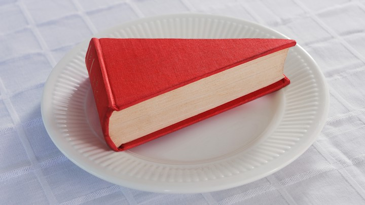 A book in the shape of a slice of cake