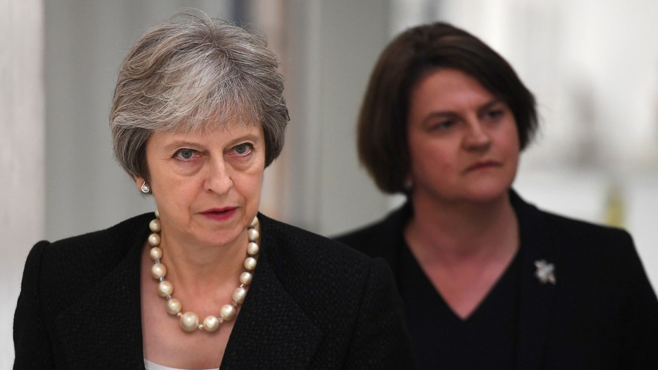 British Prime Minister Theresa May and Arlene Foster, the leader of the Northern Irish Democratic Unionist Party