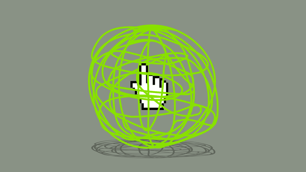 An illustration of a cursor and a web around it.