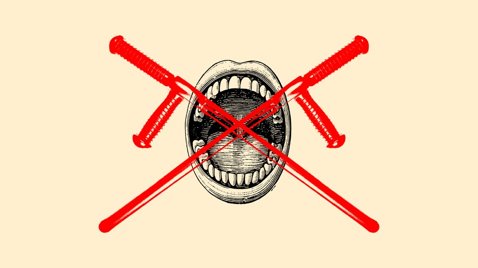 An illustration of an open mouth with an X over it.
