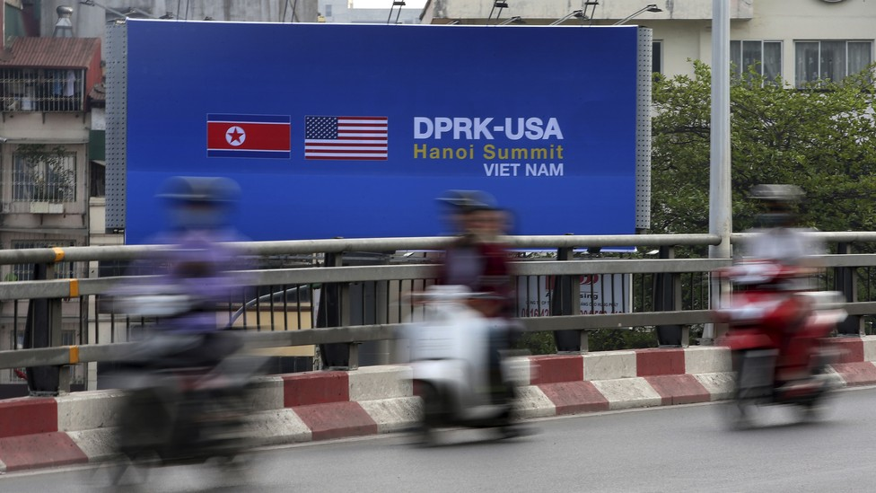 A billboard in Hanoi ahead of the Trump-Kim summit scheduled to take place in the Vietnamese city