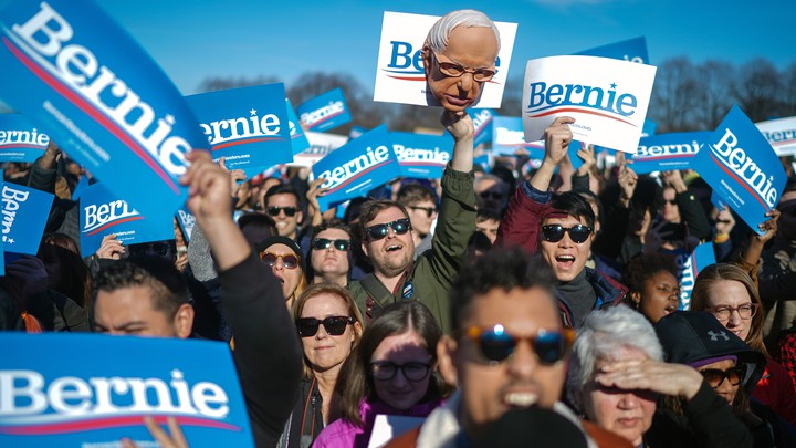 Bernie Sanders supporters in Chicago in March 2020.