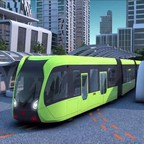 """A rendering of a self-driving """"trackless train"""""""