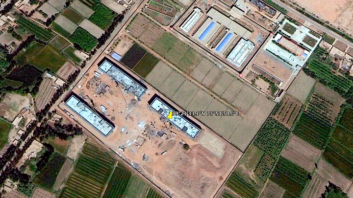 The site of a suspected internment camp in Shufu County, Xinjiang, as seen in satellite imagery in May 2017