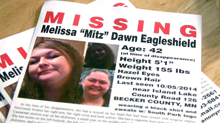 A missing-person flyer for Melissa Eagleshield