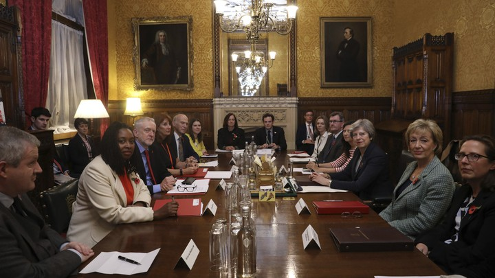 U.K. Prime Minister Theresa May meets with other members of parliament to address allegations of sexual harassment in British politics in London on November 6, 2017.