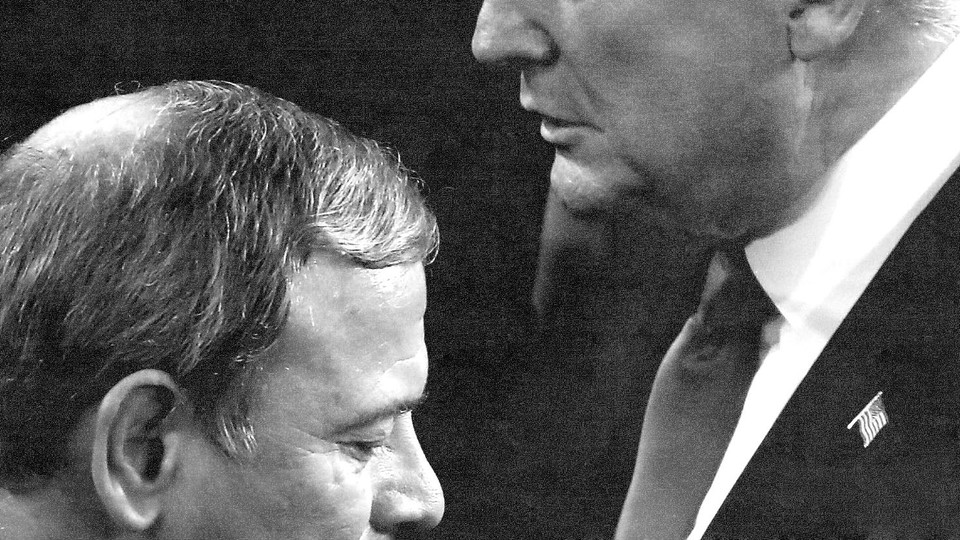 Chief Justice John Roberts and Donald Trump