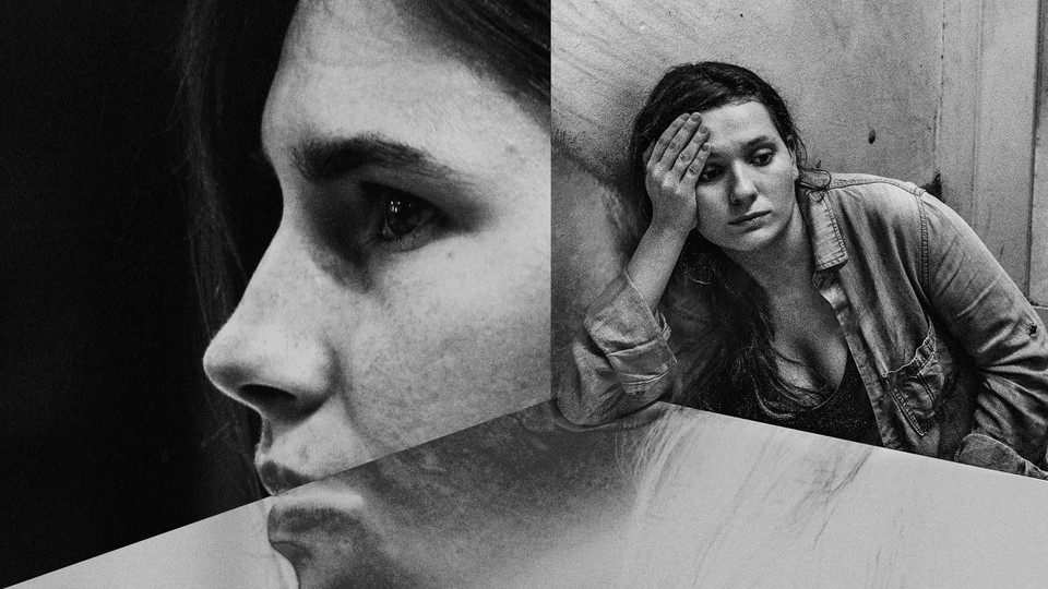 A split image shows Abigail Breslin, right, sitting at a table with her head in her hand. To the left is a photo of Amanda Knox in profile.