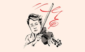 illustration of Caroline Shaw with violin