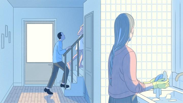 Older woman watching woman and man walk upstairs.