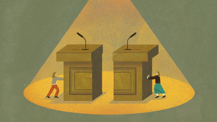 An illustration of two women pushing two halves of a podium together.