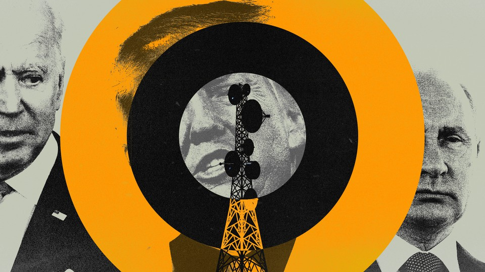A collage of Joe Biden, Donald Trump, and Vladimir Putin, with a radio tower in the foreground
