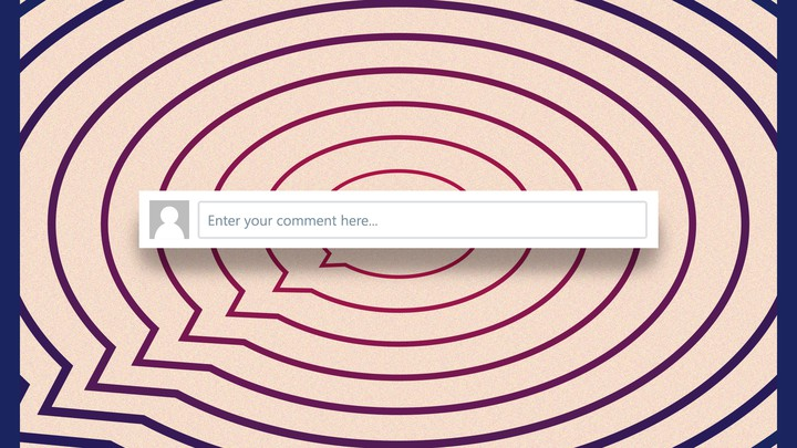 "A series of concentric speech bubbles overlaid with a text box that says ""Enter your comment here"""