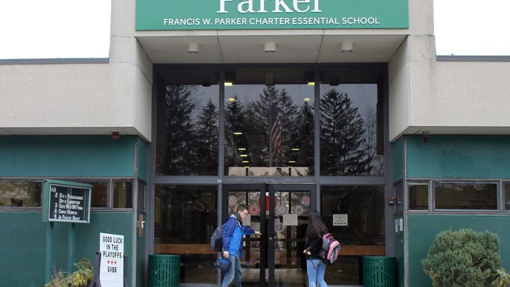 Two students walk into Francis W. Parker Essential School