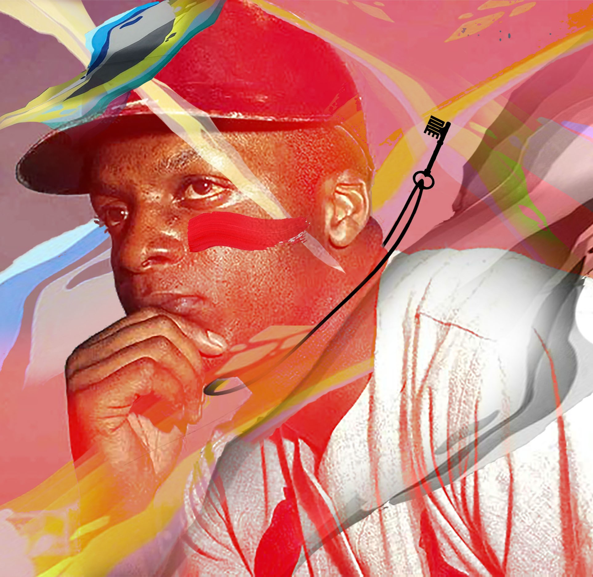 Colorful illustration of Curt Flood
