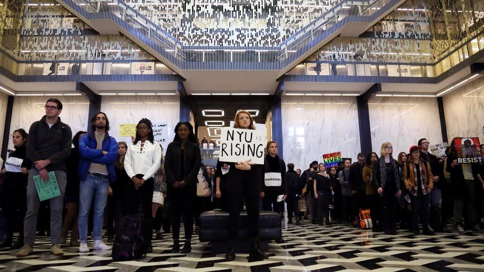 An anti-Trump protest at New York University