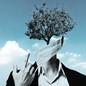 Illustration of a person with a tree as it's face wearing a mask.