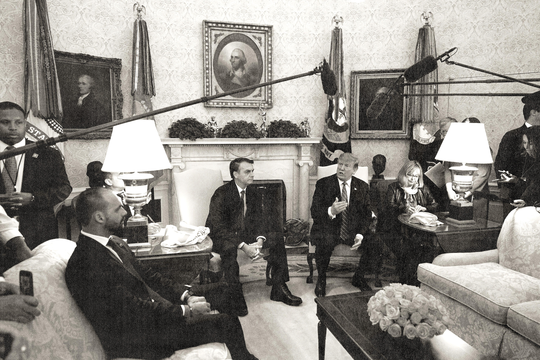 U.S. President Donald Trump and Brazilian President Jair Bolsonaro meet at the White House.