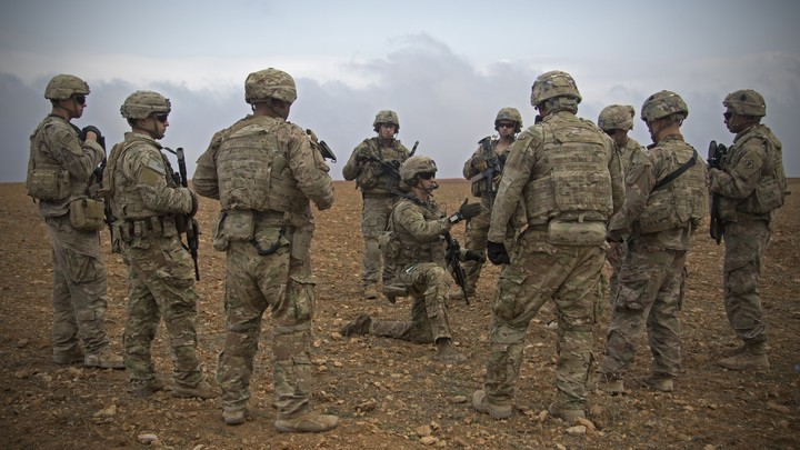 U.S. soldiers gather in Manbij, Syria, in November 2018.