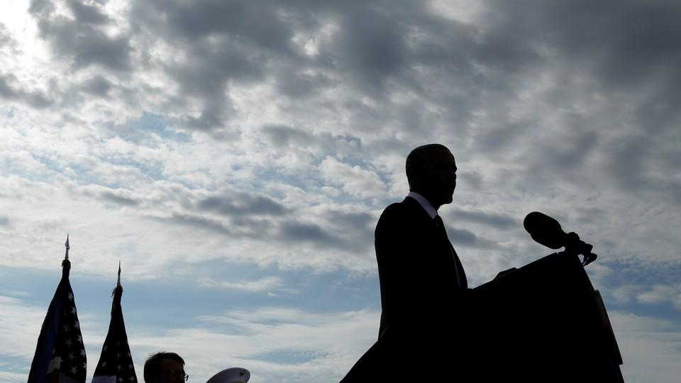 Barack Obama speaks during a 9/11 commemoration at the Pentagon.