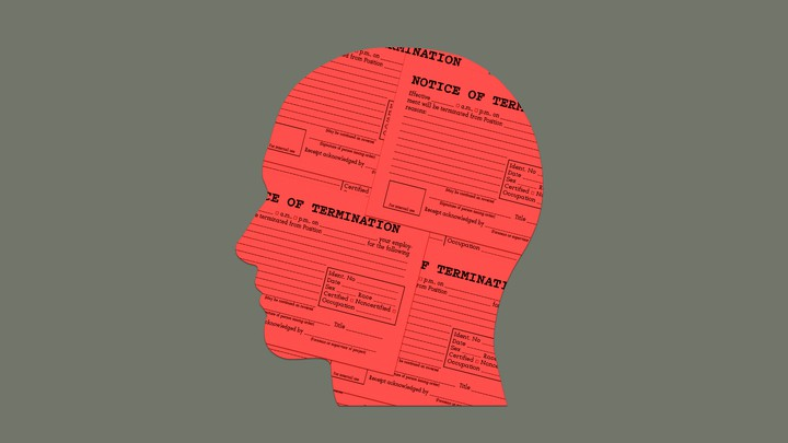Notice of termination on person's head