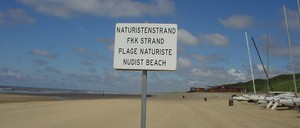 A sign marks a nude beach in Germany.