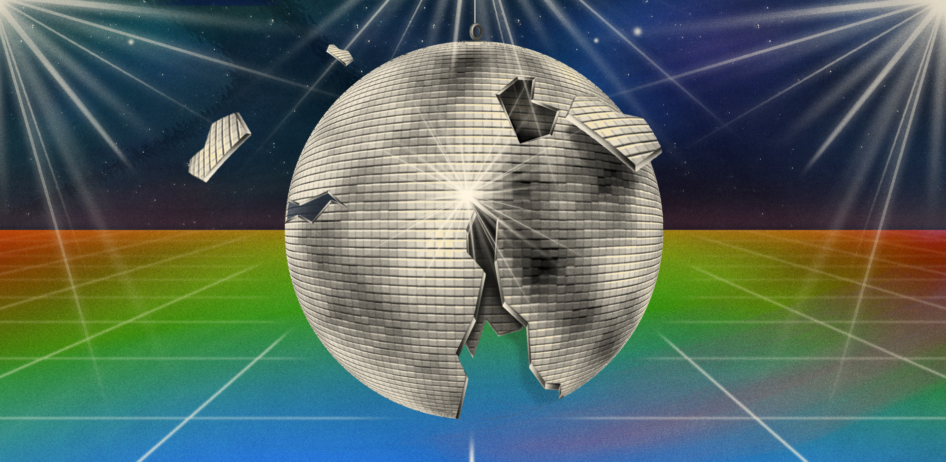 Illustration of a shattered disco ball on a dance floor