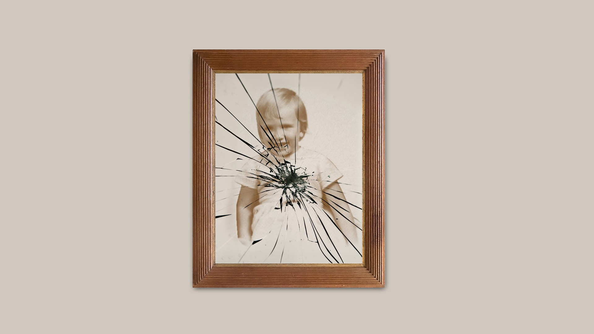 Baby photo in shattered frame