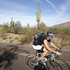 A cyclist rides through a desert park and nature preserve in Phoenix.