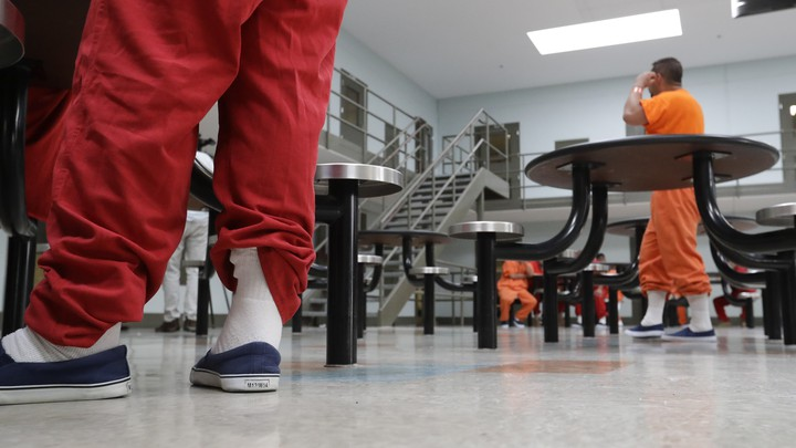 Detainees at the Adelanto ICE Processing Center in California.
