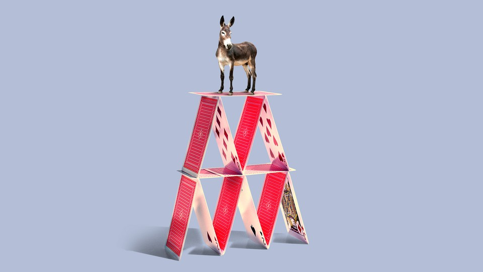 A donkey standing on top of a house of cards.