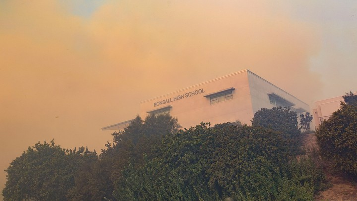 Clouds of smoke reach a school in Ventura, California, during the Lilac Fire last December.
