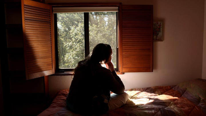 A victim of domestic violence at a safe house in Nevada County, California