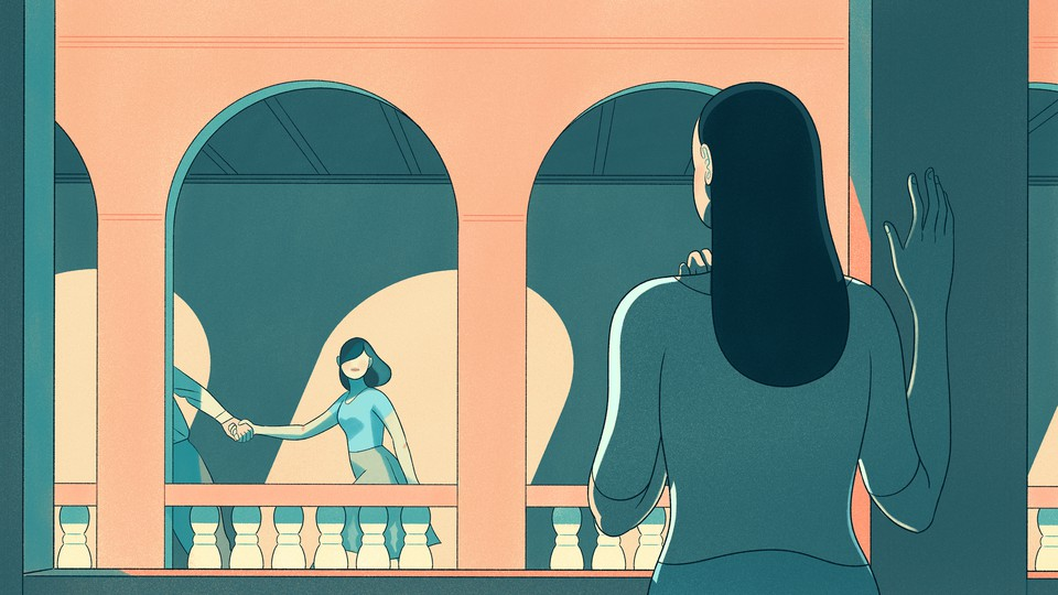 An illustration of a woman watching another woman get pulled away