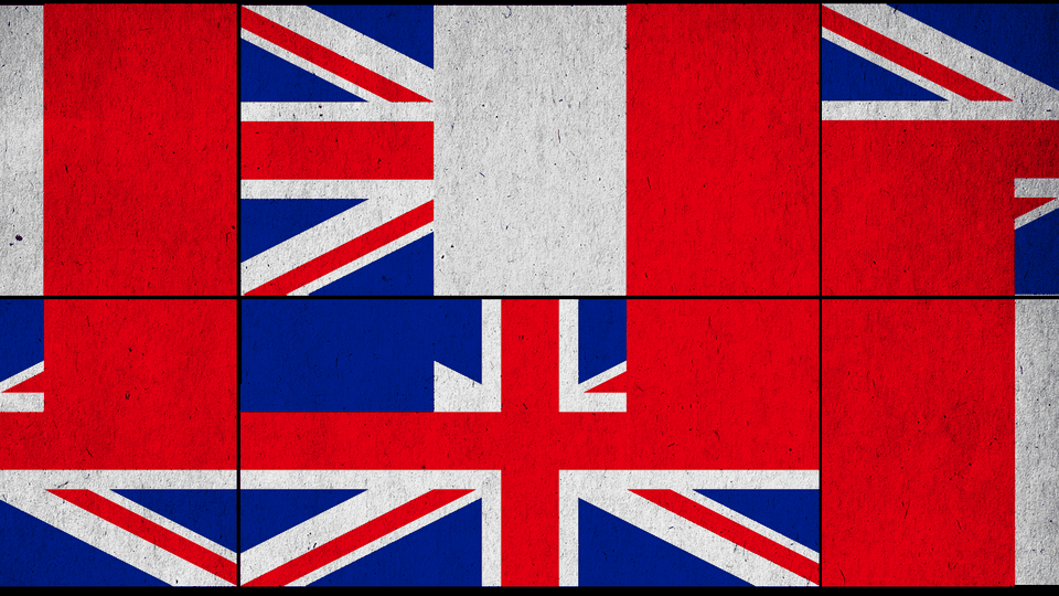 An illustrated collage of the British and French flags