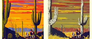 Posters show the past and future of Saguaro National Monument, Arizona