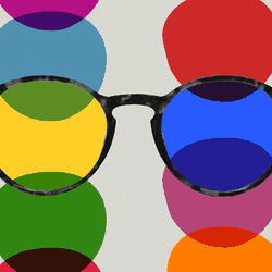 An illustration of glasses and multi-colored circles.