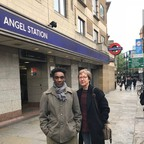 The musician Esperanza Spalding snapped a photo of the authors, Penny Woolcock and Stephen Griffith, at Angel Station in London