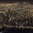 Aerial view of nighttime Chicago